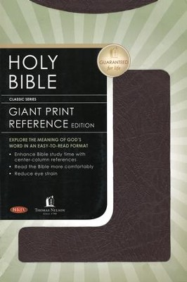 NKJV Giant Print Center-Column Reference Bible, Bonded leather, burgundy  -