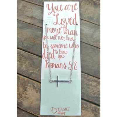 Silver Cross Necklace with You Are Loved Bookmark  -