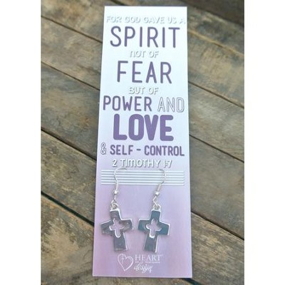 Silver Cross/Cross Cut Out Earrings with 2 Timothy 1:7 Bookmark  -