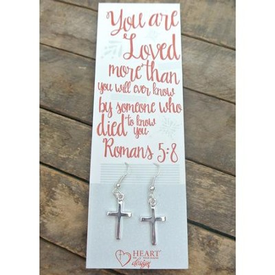 Silver Cross Earrings with You Are Loved Bookmark  -