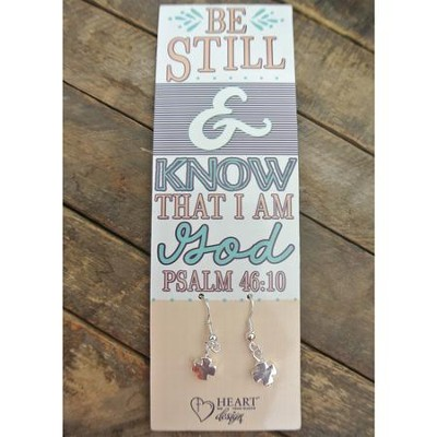 Silver Cross Earrings with Be Still & Know Bookmark  -