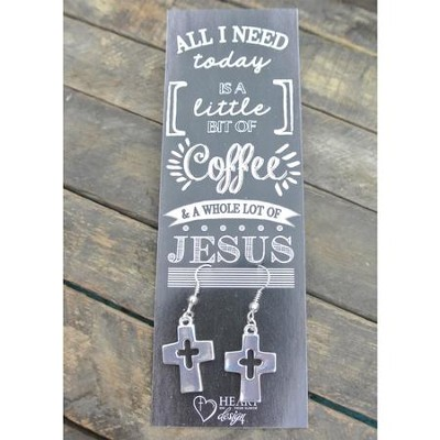 Silver Cross/Cross Cut Out Earrings with Coffee and Jesus Bookmark  -