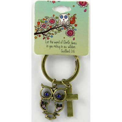 Owl Keyring, Colossians 3:16, Jeweled   -