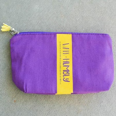 Walk Humbly Zipper Bag with Tassel, Purple  -