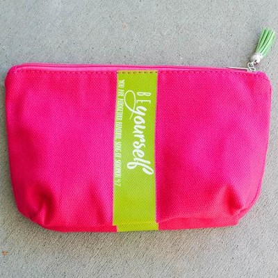 Be Yourself Zipper Bag with Tassel, Pink  -