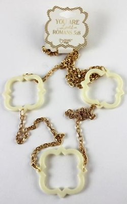 Quatrefoil Necklace, White  -