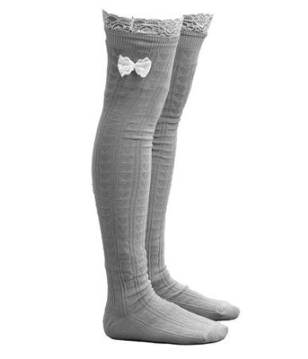 Lace Boot Socks, Light Gray  -