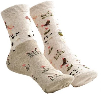 Barn Animals & Flowers Mix and Match Socks  -