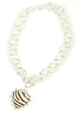 Bracelet with Cross, Zebra Print  -