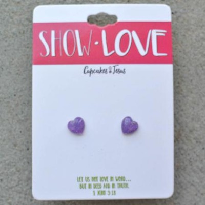 Show Love Heart Earrings, Purple  -