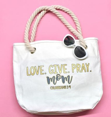 Love Give Pray Mom Canvas Tote Bag  -