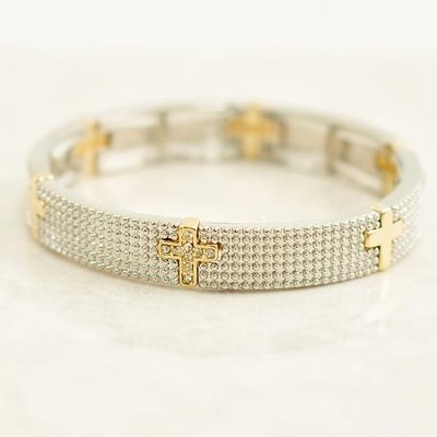 Beaded Texture Stretch Bracelet, with Crosses  -