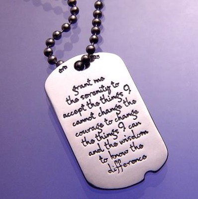 The Serenity Prayer, Sterling Silver Dog Tag Necklace  -