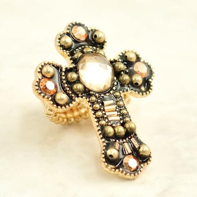 Cross Beaded Stretch Ring, Coppertone Beads  -