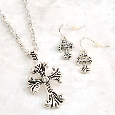 Filigree Cross Antique Necklace and Earrings Set  -