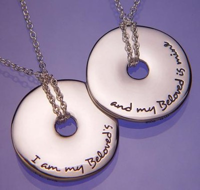 I Am My Beloved's, Sterling Silver Disc Necklace  -