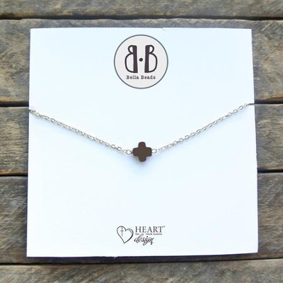 Chocolate Stone Cross Necklace  -
