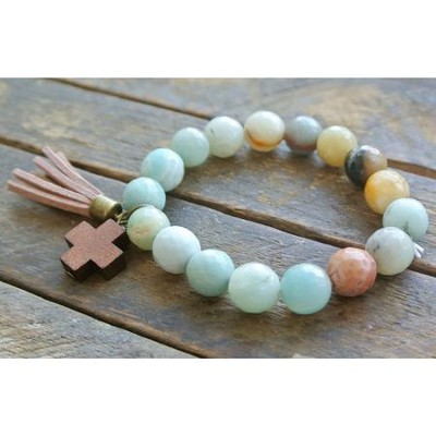 Turquoise Beaded Bracelet with Wooden Cross  -