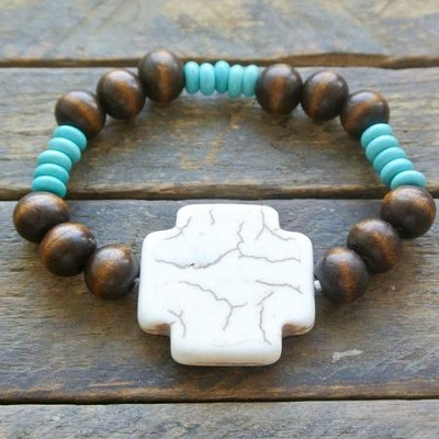 Wooden and Turquoise Beaded Bracelet with Bone Cross  -