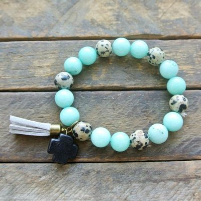 Turquoise and Spotted Beaded Bracelet with Black Cross  -