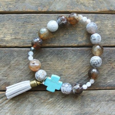 Marbled Brown Beaded Bracelet with Turquoise Cross  -