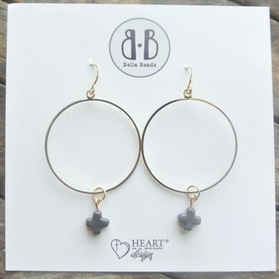 Charcoal Stone Cross Hoop Earrings  -