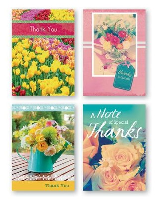 Floral, Thank You Cards with Scripture, Box of 12  -