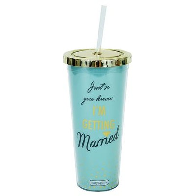 Getting Married Tumbler with Straw, Teal  -
