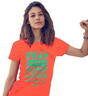 Pray More Worry Less Shirt, Heather Coral,  Small  -