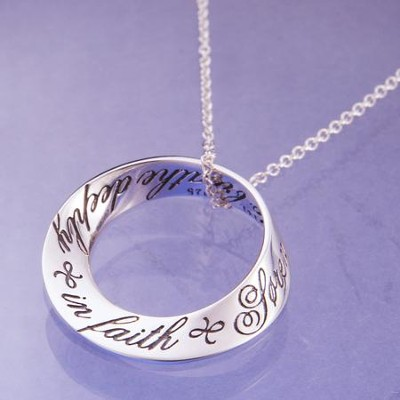 Breathe Deeply In Faith, Sterling Silver Mobius Pendant  -     By: Soren Kierkegaard