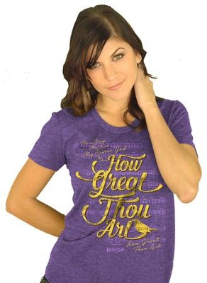 How Great Thou Art Shirt, Heather Purple,  X-Large  -