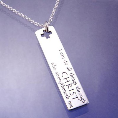 I Can Do All Things Sterling Silver Oblong Pendant WR  -