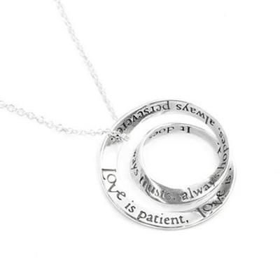 Love Is Patient Double Mobius Necklace, Sterling   -