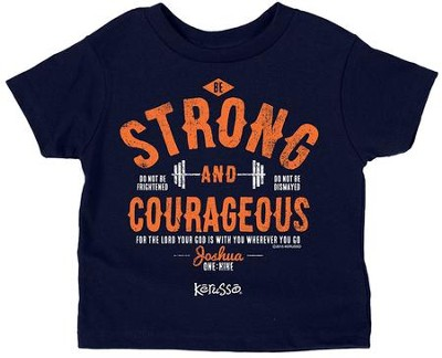 Strong And Courageous Shirt, Navy,  3T  -