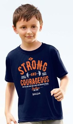 Strong And Courageous Shirt, Navy,  Youth Small  -