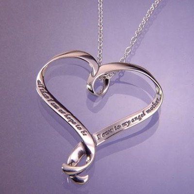 Angel Mother, Sterling Silver Heart Necklace  -     By: Abraham Lincoln