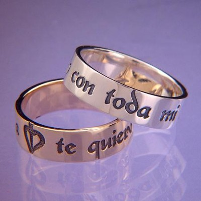 Te Quiero con Toda Mi Alma, Anillo de Plata de Esterlina, 6  (I Love You with All My Heart, Sterling Silver Ring, 6)  -