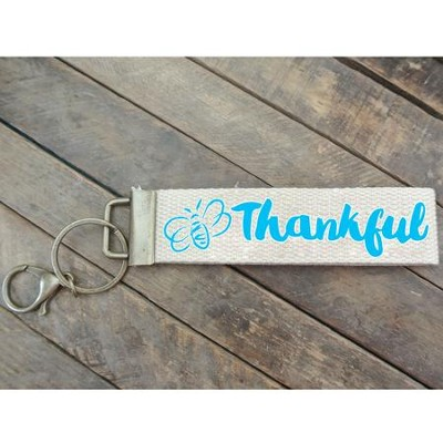 Bee Thankful Canvas Keyring, Turquoise   -