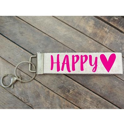 Happy Heart Canvas Keyring, Pink   -
