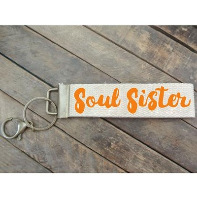 Soul Sister Canvas Keyring, Orange   -