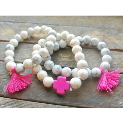 Ivory Beaded Bracelet with Hot Pink Cross and Hot Pink Tassels  -