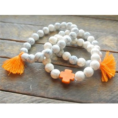 Ivory Beaded Bracelet with Orange Cross and Orange Tassels  -