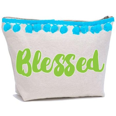 Blessed Canvas Everything Bag with Pom Poms  -