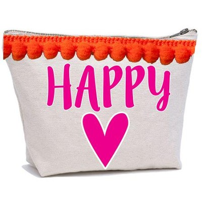 Happy Heart Canvas Everything Bag with Pom Poms  -