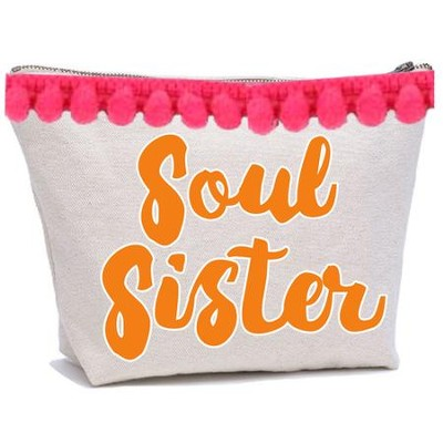 Soul Sister Canvas Everything Bag with Pom Poms  -