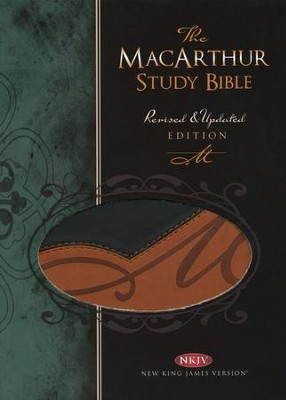 NKJV MacArthur Study Bible, Revised and updated, Imitation leather, black/terracotta  -     By: MacArthur