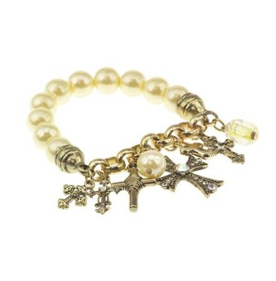Pearl Stretch Bracelet with Cross Charms  -