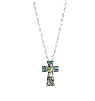 Crystal Cross Pendant, Multi  -