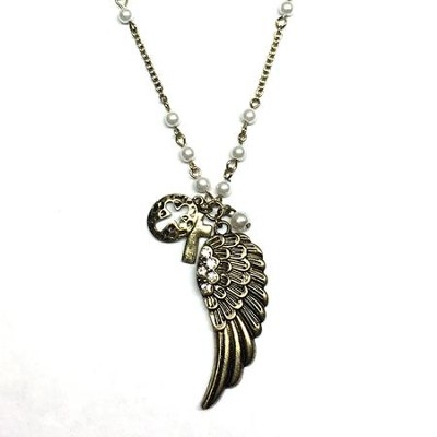 Rosary Bead Necklace with Wing Pendant  -