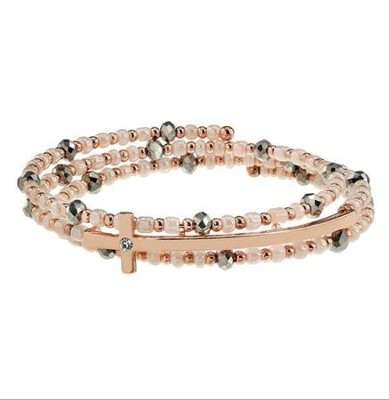 Beaded Coil Bracelet with Cross Motif, Rose gold  -